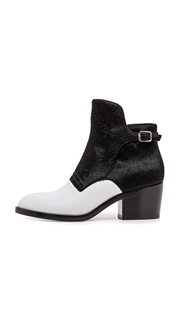 Alexander Wang Cara Colorblock Booties with Haircalf Trim