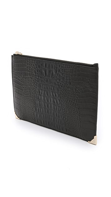 Alexander Wang Alligator Embossed Prisma Flat Clutch
