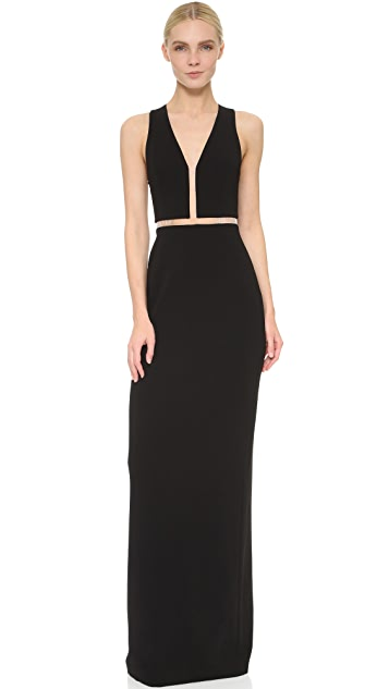 Alexander Wang V Neck Gown with Fishing Line Detail