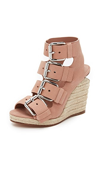 Jo Buckle Wedge Sandals
