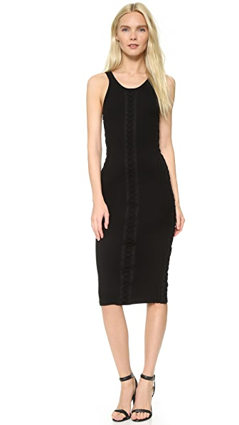Alexander Wang Engineered Rib Tank Dress with Flightsuit Lacing