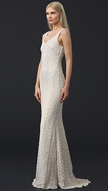 Badgley Mischka Collection Sleeveless Embroidered Gown