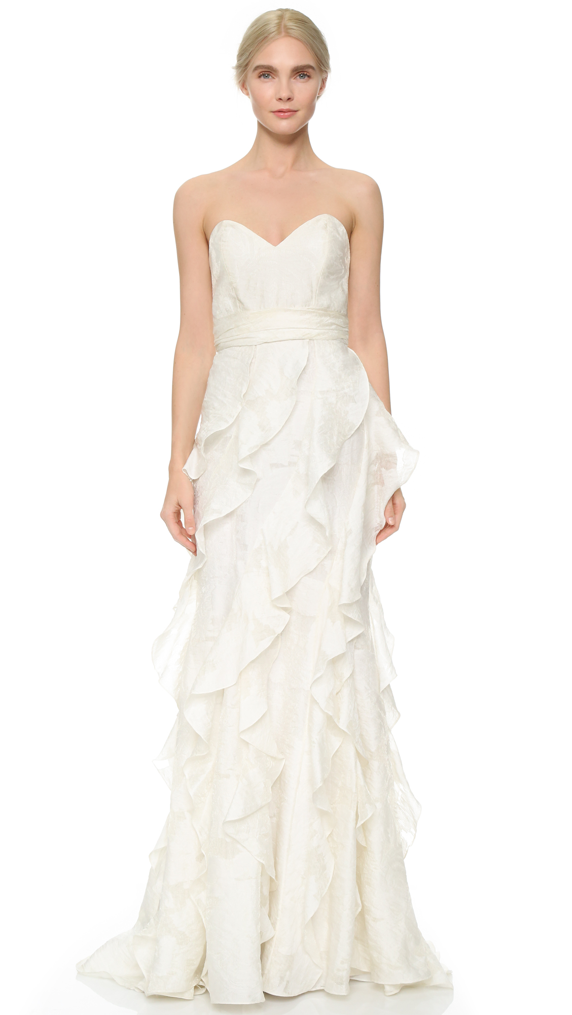 Badgley Mischka Collection Strapless Gown With Ruffle Shopbop