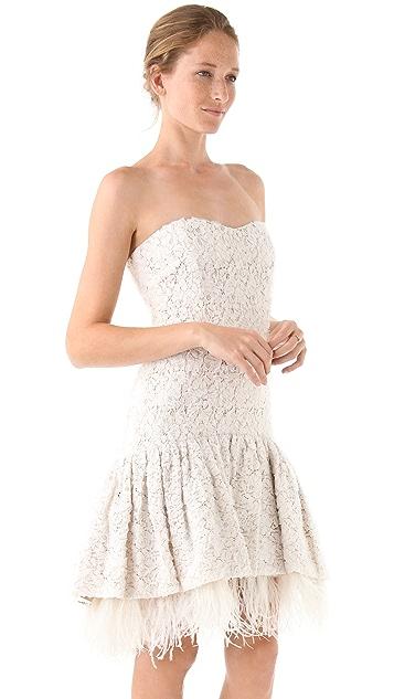 Badgley Mischka Collection Drop Waist Lace & Ostrich Feather Dress