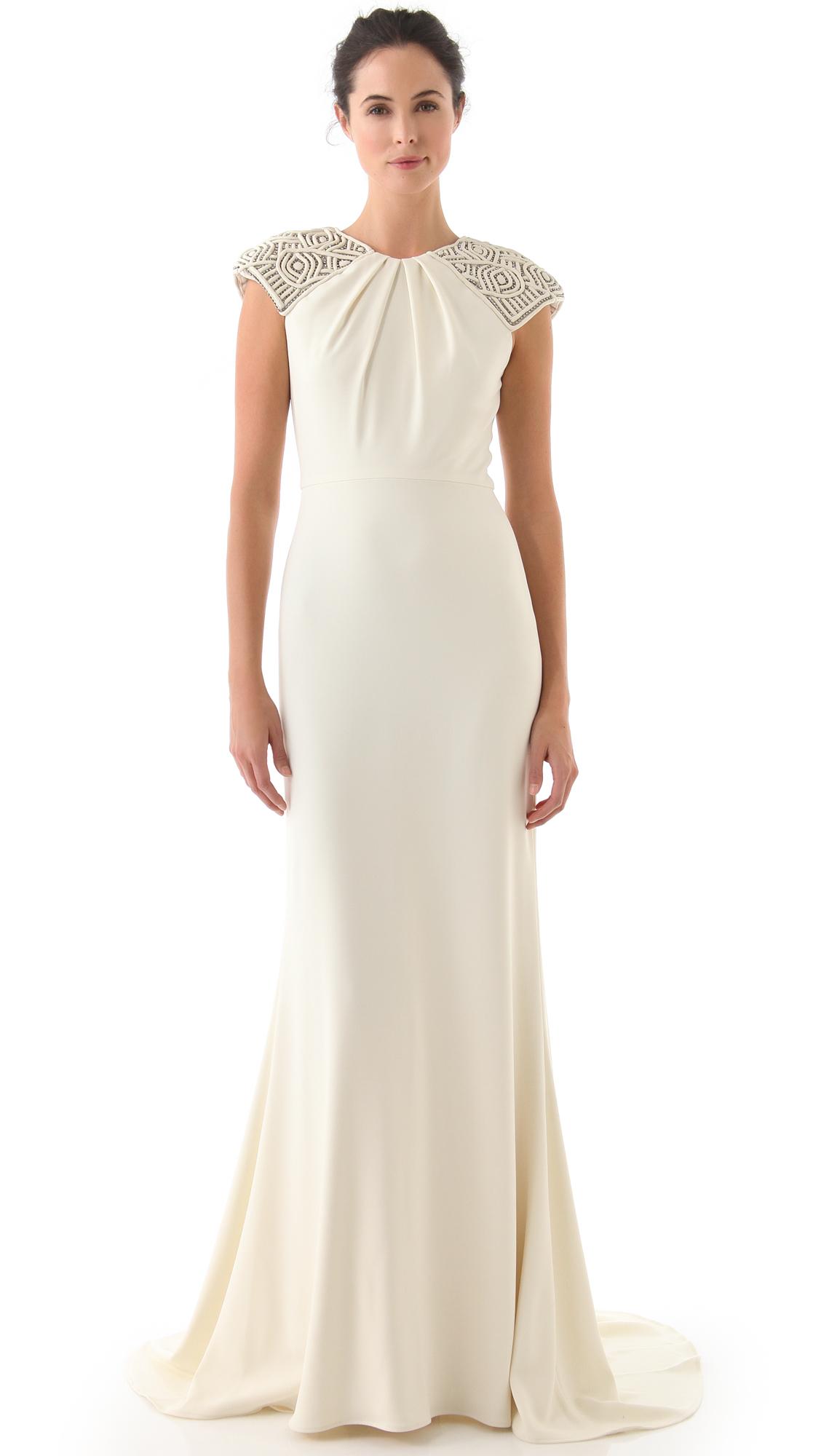Badgley Mischka Collection Deco Cap Sleeve Gown | SHOPBOP