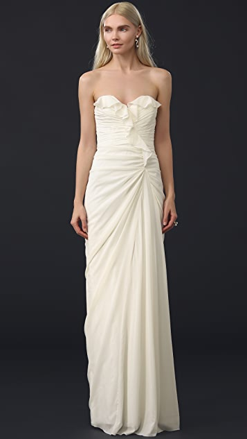 Badgley Mischka Collection Strapless Ruffle Gown