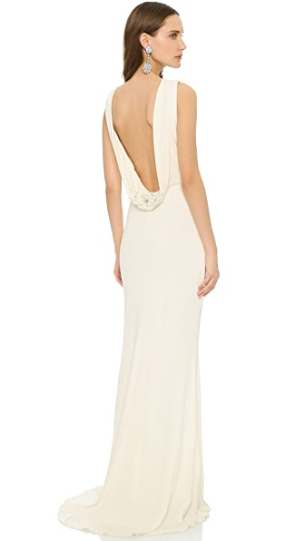 Badgley Mischka Collection Cowl Back Gown - Ivory