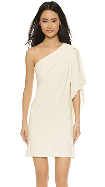 Badgley Mischka Collection One Shoulder Mini Dress - White