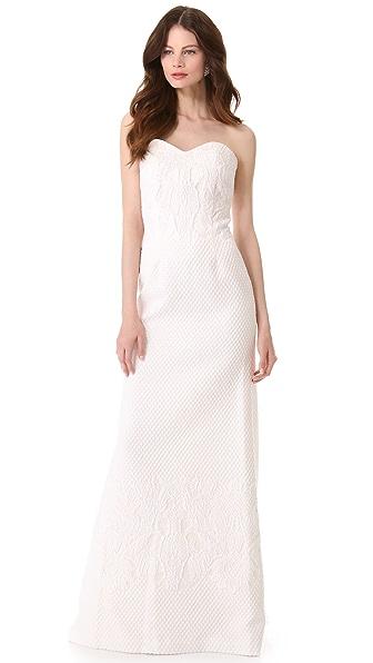 Badgley Mischka Collection Ivory Brocade Strapless Gown