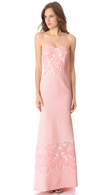 Badgley Mischka Collection Brocade Strapless Gown