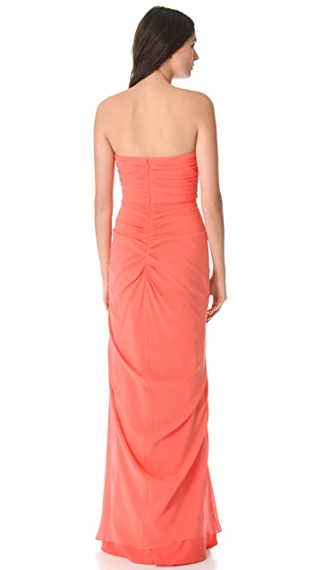 Badgley Mischka Collection Ruffle Strapless Gown