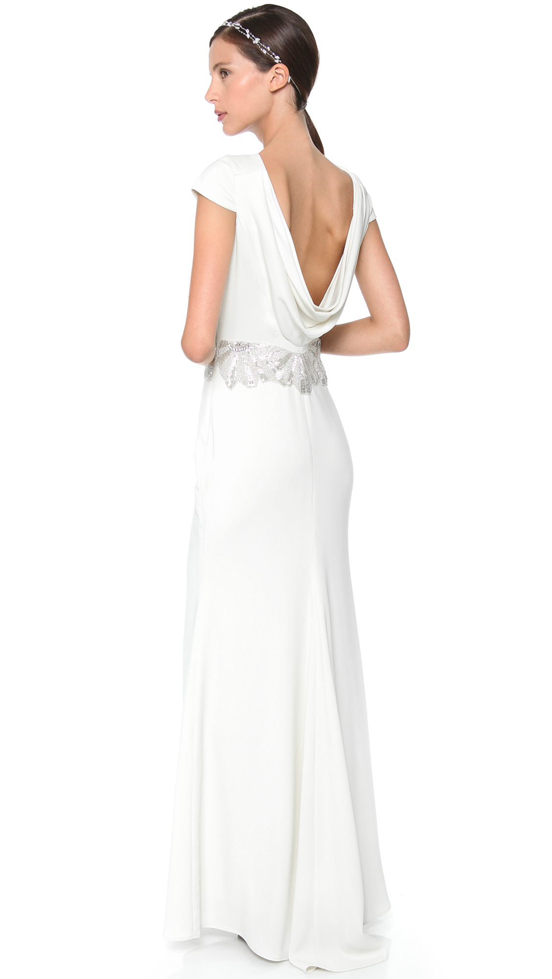 Badgley Mischka Collection Cowl Back Beaded Gown | SHOPBOP