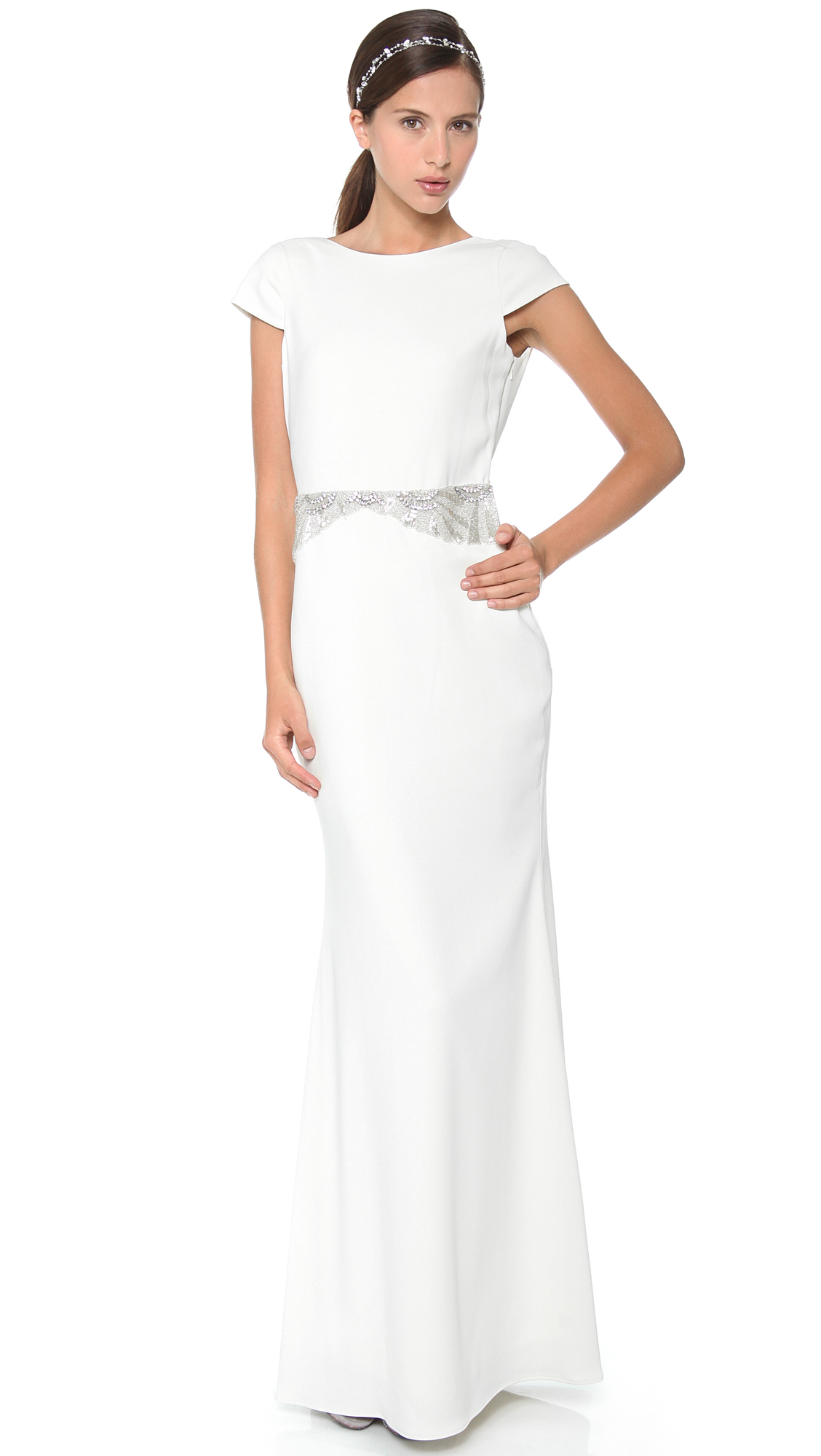 Badgley Mischka Collection Cowl Back Beaded Gown   SHOPBOP
