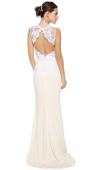 Badgley Mischka Collection Кружевное вечернее платье с баской и открытой спиной