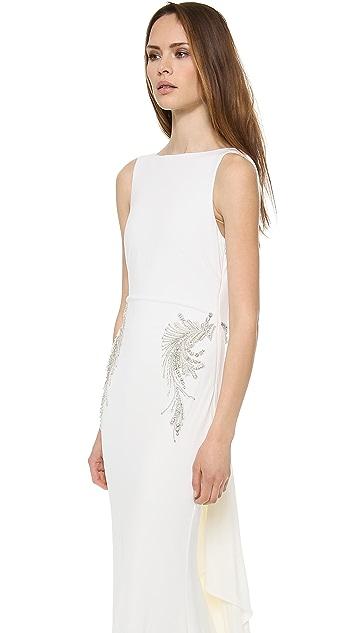 Badgley Mischka Collection Drape Back Loop Dress