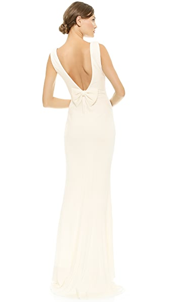 Badgley Mischka Collection Bow Back Gown - Ivory