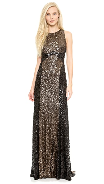 Badgley Mischka Collection Colorblock Sequin Gown