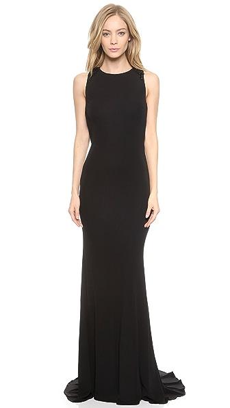 Shop Badgley Mischka Collection online and buy Badgley Mischka Collection Knot Back Gown Black dresses online