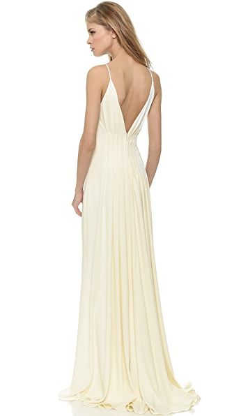 Badgley Mischka Collection Open Back Gown In Ivory
