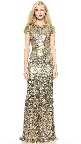 Badgley Mischka Collection Вечернее платье с блестками и хомутом сзади