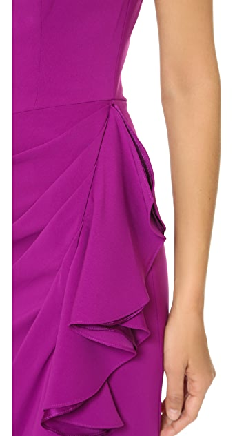 Badgley Mischka Collection Side Slit Ruffle Dress