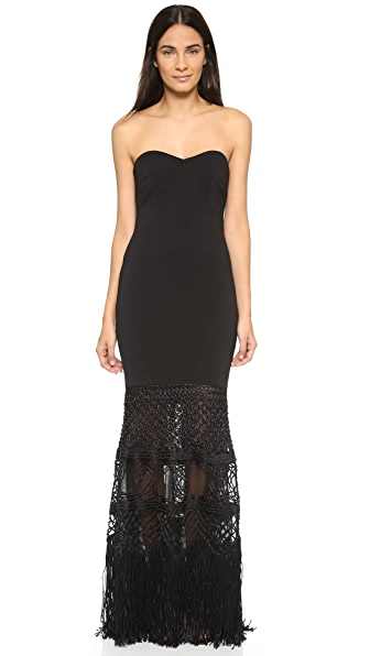 Badgley Mischka Collection Macrame Mermaid Strapless Gown