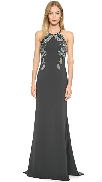 Badgley Mischka Collection Beaded Racer Back Gown