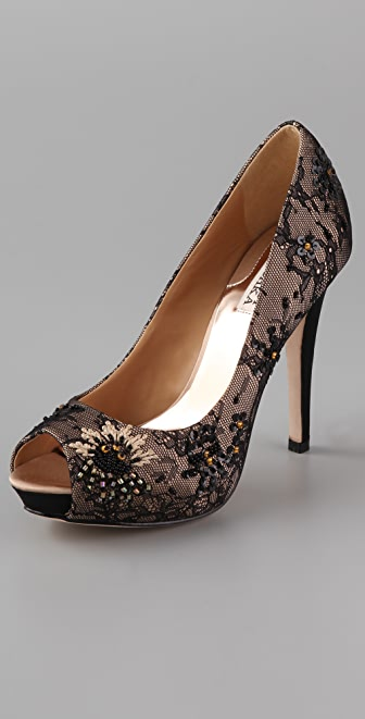 Badgley Mischka Stella Lace Pumps