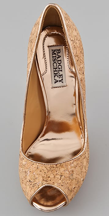Badgley Mischka Willoe Glitter Cork Pumps