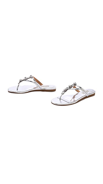 Badgley Mischka Kittie Jeweled Flat Sandals