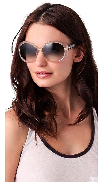 Balenciaga Easy Oval Plastic Sunglasses