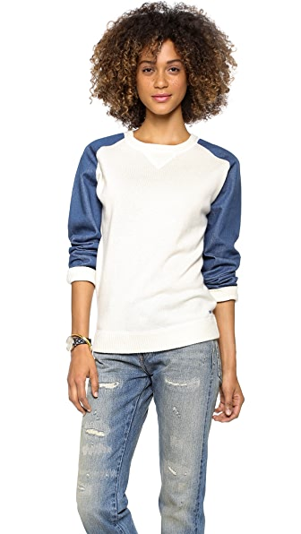 Banjo & Matilda Denim Sleeve Cashmere Sweater