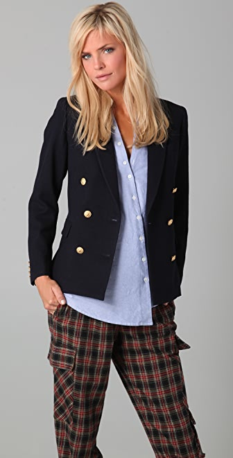 Band of Outsiders Cropped Double Breasted Blazer