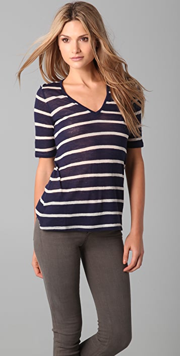 Band of Outsiders Wool Gauze Striped Top
