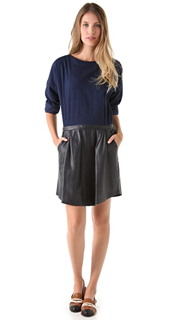 Band of Outsiders Dress with Leather Skirt
