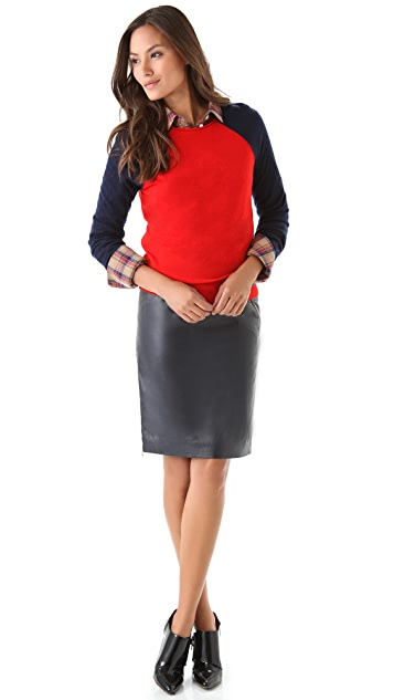 Band of Outsiders Leather Pencil Skirt