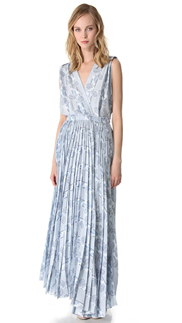 Band of Outsiders Pleated Japanese Flowers Dress