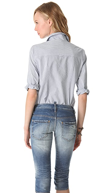 Band of Outsiders Cropped Sleeve Shirt With Pocket