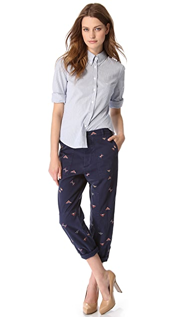 Band of Outsiders Liz Embroidered Pants