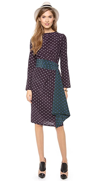 Band of Outsiders Printed Dress with Sash