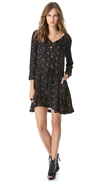 Band of Outsiders Butterfly Print V Neck Dress
