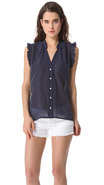 Band of Outsiders Flocked Swiss Dot Blouse