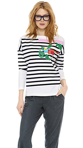 Band of Outsiders Drop Shoulder Print Top