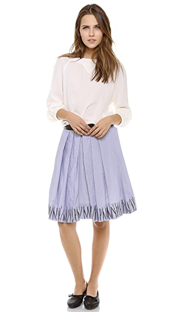 Band of Outsiders Grass Embroidered Pleated Skirt