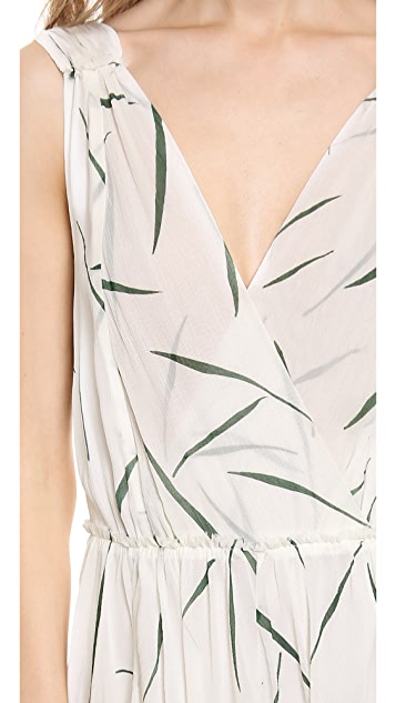 Band of Outsiders Grass Print V Neck Maxi Dress