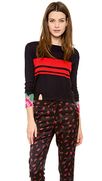 Band of Outsiders Cashmere Intarsia Crew Neck Sweater