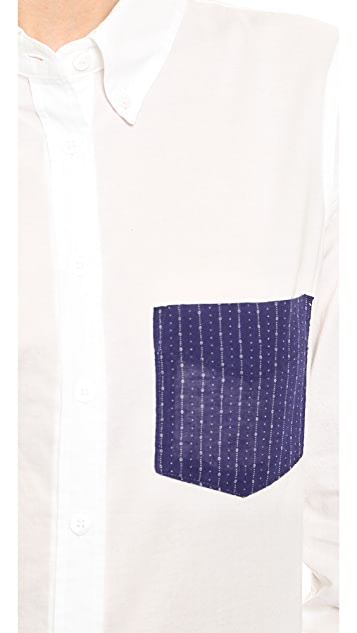 Band of Outsiders Cropped Sleeve Shirt with Contrast Pocket