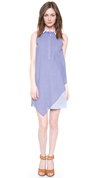 Band of Outsiders Patch Stripe Sleeveless Shirtdress