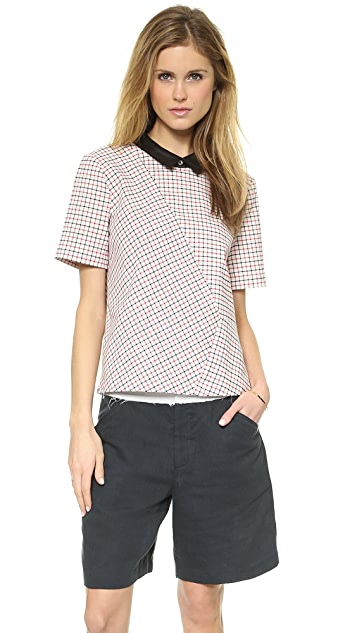 Band of Outsiders Windowpane Check Collared Top