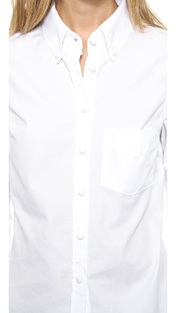 Band of Outsiders Pique Cropped Sleeve Shirt